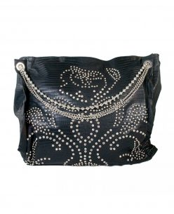 WONDER Fashion Women's Black PU Bag with Studs and Diamantes