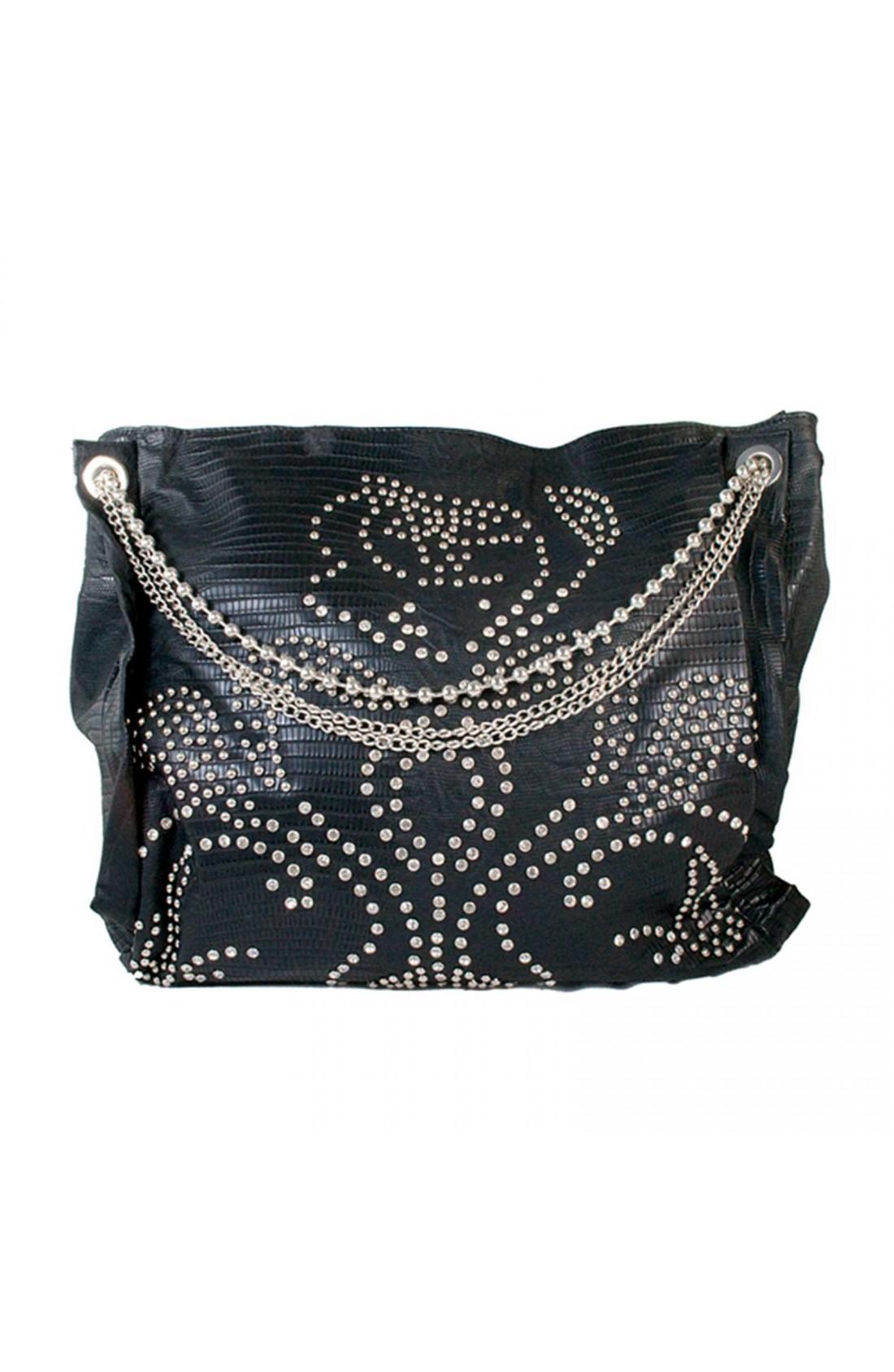 WONDER Fashion Women's Black PU Bag with Studs and Diamantes