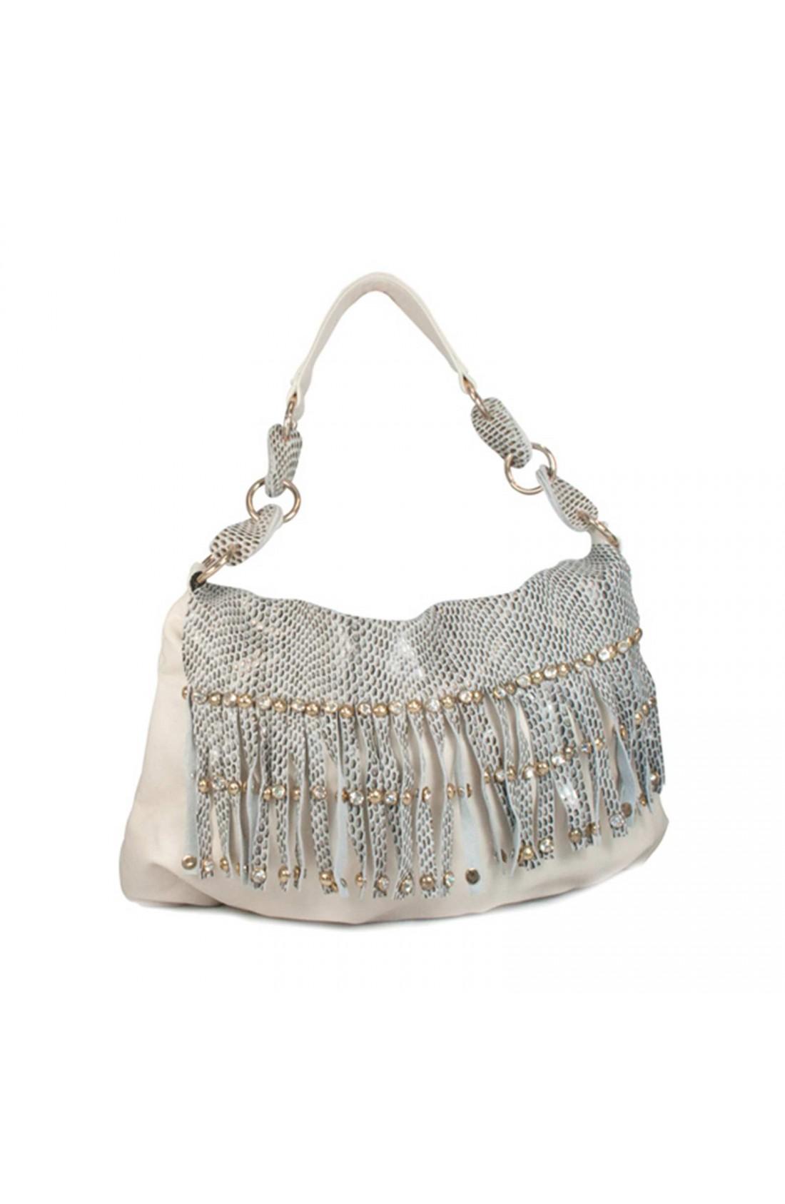 WONDER Cream Leather Handbag with Diamante and Studded Tassels