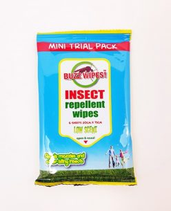 4 x Insect Repellent Wipes Low Scent Buzz Wipes 6pk 15cmx20cm