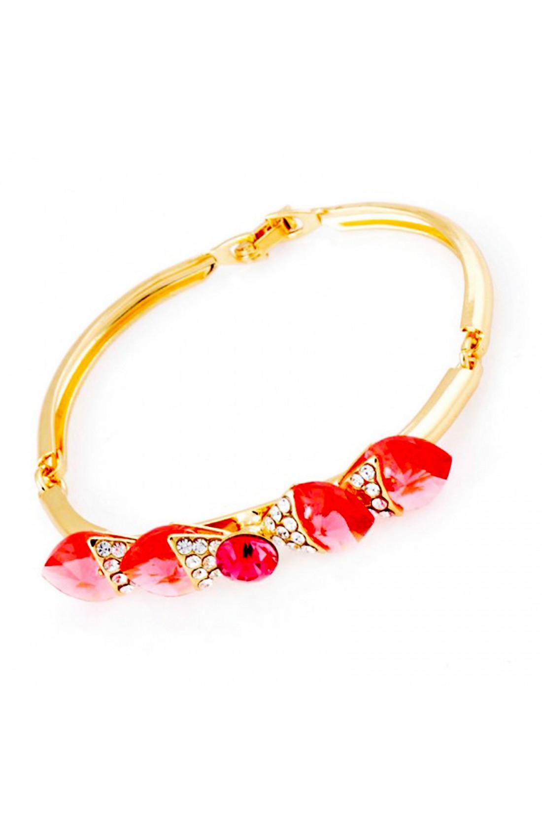 14K Gold Plated Crystal Bowknot Flower Bracelet
