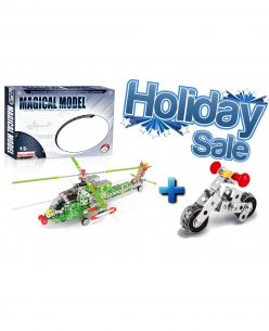 Iron Commander Meccano Style DIY Metal Helicopter + Motorcycle Model Construction Combo Set Gift Holiday sale