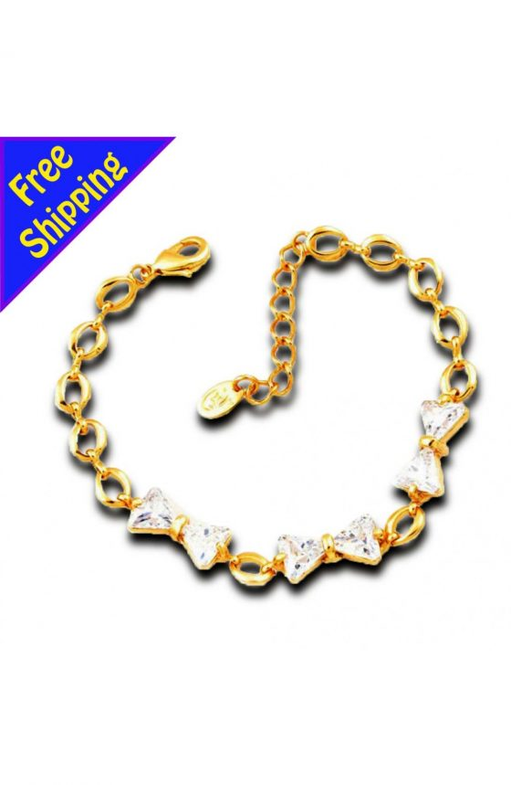 14K GOLD Plated with Crystal Bowknot Chain Bracelet Fashion Women Girl Gift