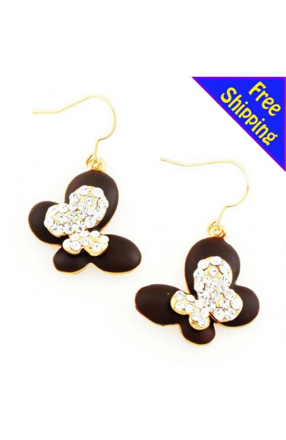 14K Gold Plated w/ Mist Paint High Quality Crystal Mist Paint Butterfly Brown Earrings