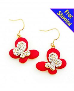 14K Gold Plated w Mist Paint High Quality Crystal Mist Paint Butterfly Red Earrings