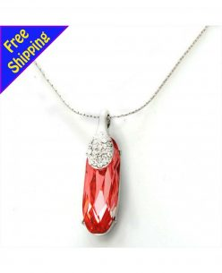 Imitation Platinum Plated with high quality Crystal Drop Pendant Necklace
