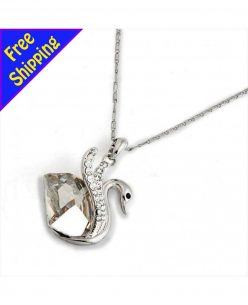 Imitation Platinum Plated with high quality Crystal Swan Pendant Necklace