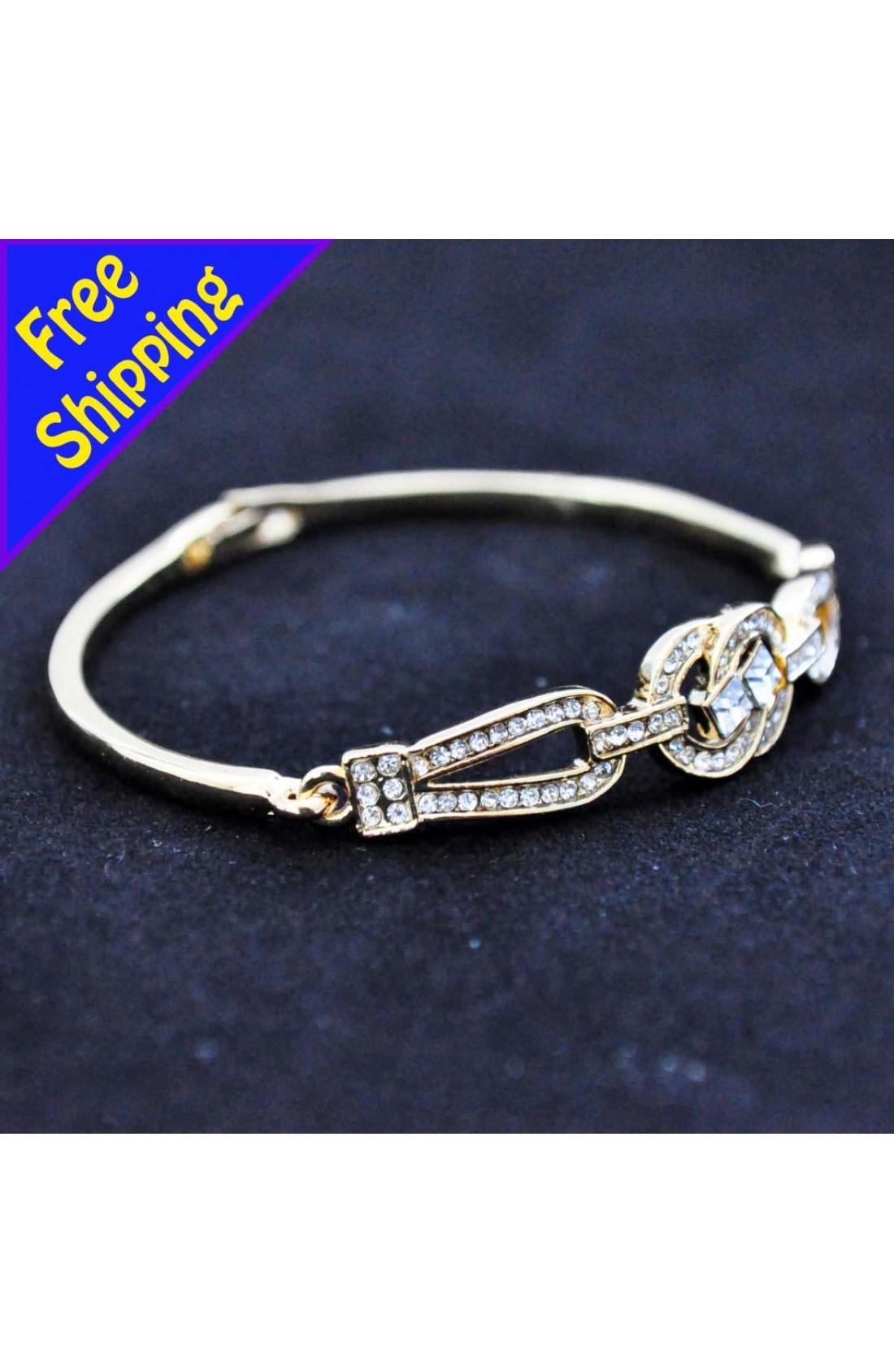 14K Gold Plated with high quality Zircon Daisy Chain Stylish bangle bracelet