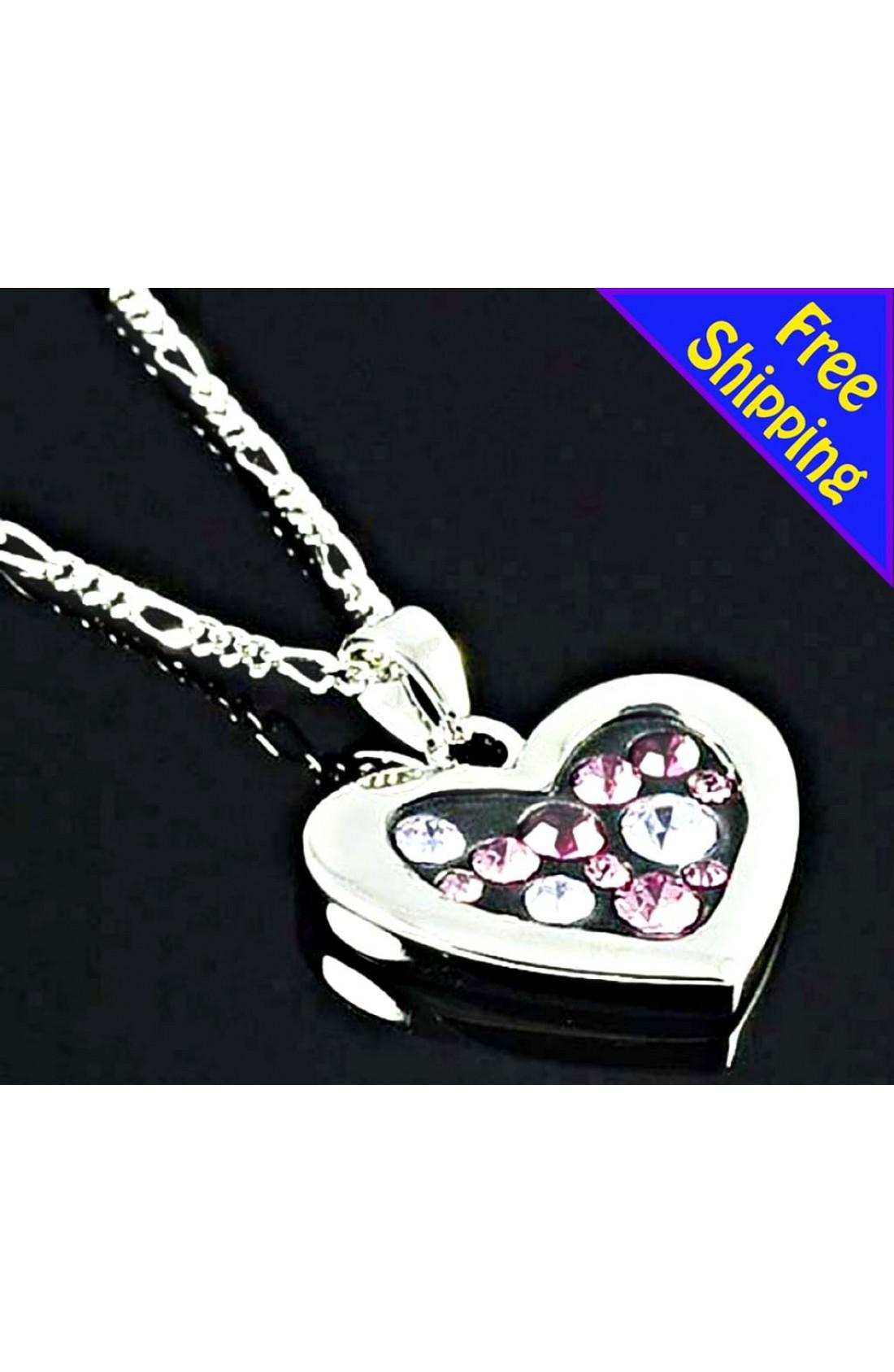 Imitation Rhodium Plated wit Heart Shaped full rhinestone Pendant Chain Necklace