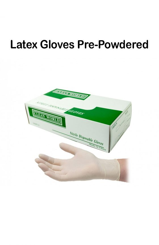 Disposable Latex Pre-Powdered Gloves Medium // 100 pieces