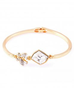 14K Gold Plated with Rhinestone Little butterfly on a Rock style bangle bracelet