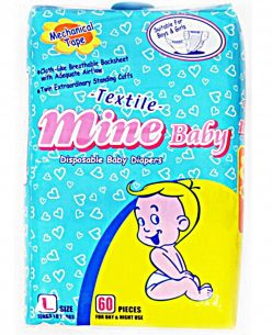 MINE BABY Large Nappies 60pk
