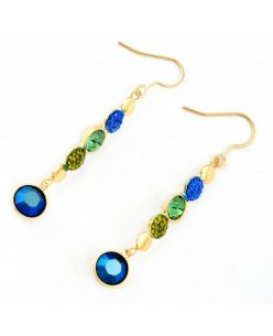 14K Gold Plated Multi Color Peacock Round Crystal Drop Earring