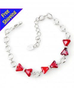 Imitation Platinum Plated Red Crystal Bowknot Chain Bracelet Fashion Women Girl