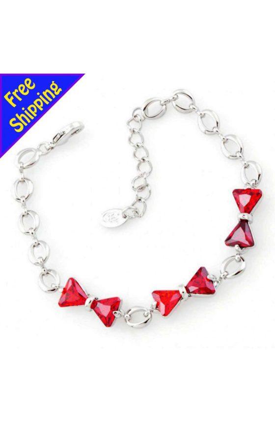 Imitation Platinum Plated Red Crystal Bowknot Chain Bracelet Fashion Women Girl