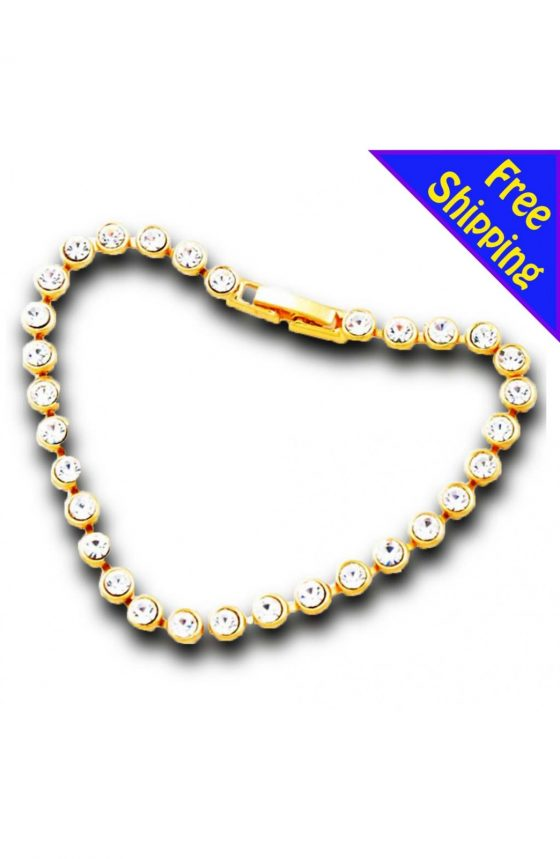 14K GOLD Plated with Crystal Round Crystal Bracelet Women/Girl Fashion Gift