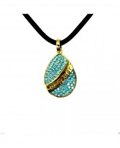 14K Gold Plated Drop Blue Swarovski Elements Forever Crystal Pendant Necklace