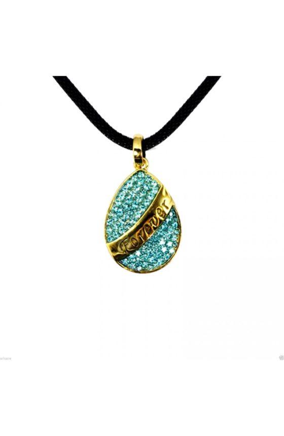 14K Gold Plated Drop Blue Swarovski Elements Forever Crystal Pendant Necklace