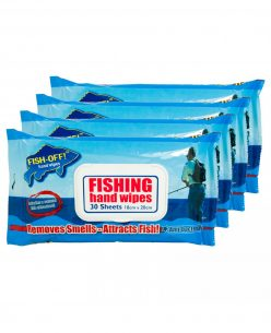 Fishing Hand Wipes — Removes Smells + Attracts Fish (4 x 30 Large Wet Wipes)