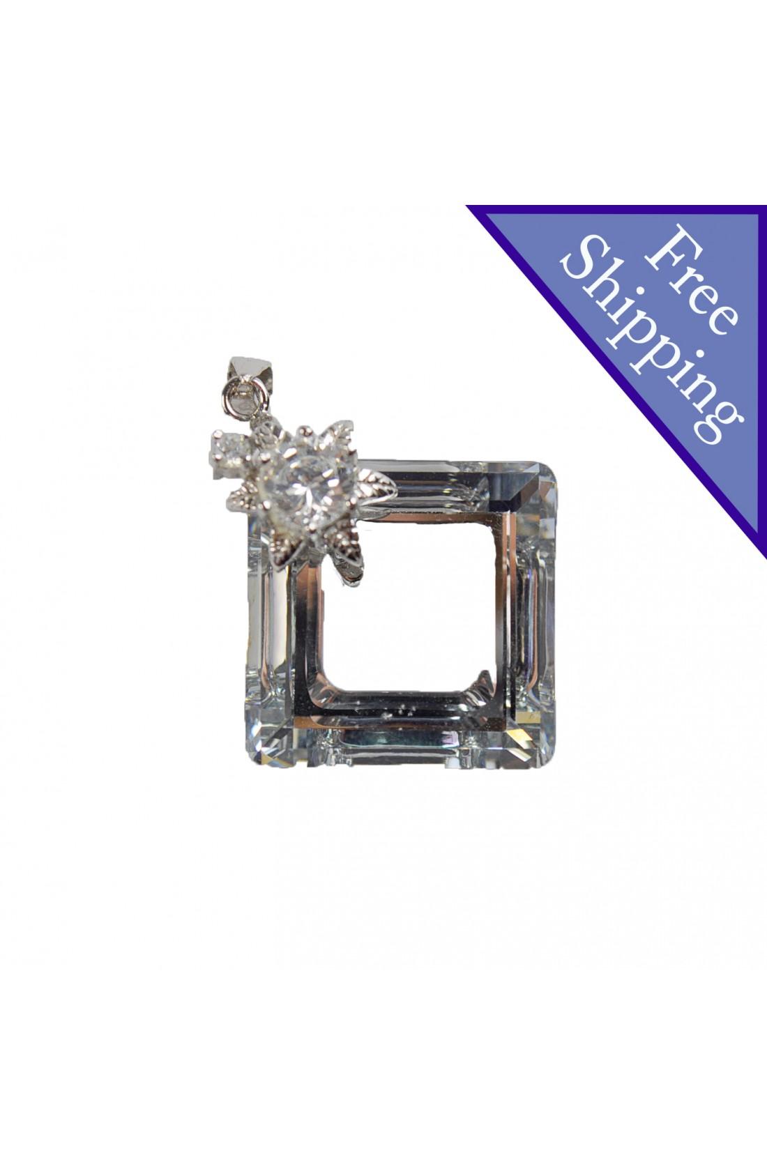 Swarovski Elements Crystal Swan Cubic Circle Pendant