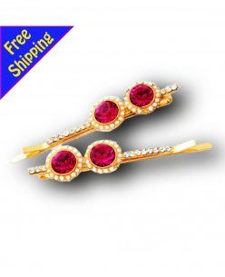 14K Gold Plated with HQ Zircon Sunflower Shape Hair clip Barrette Hairpin 2pk