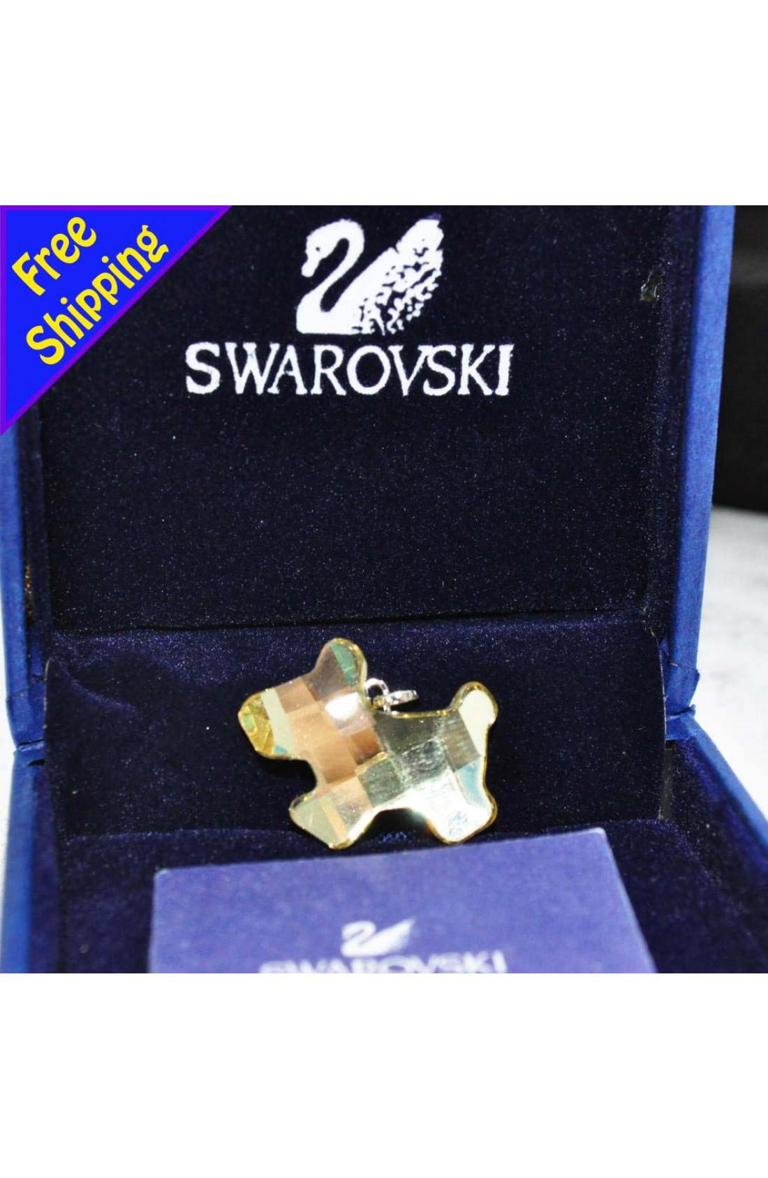 Swarovski Elements Crystal Little Golden Dog Pendant